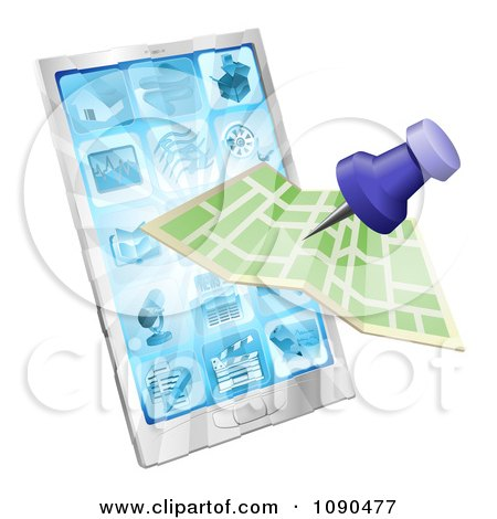 Clipart Road Or City Map Flying Out Of A Mobile Phone - Royalty Free Vector Illustration by AtStockIllustration