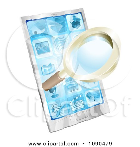 Clipart 3d Magnifying Glass And Light Over A Smart Phone - Royalty Free Vector Illustration by AtStockIllustration