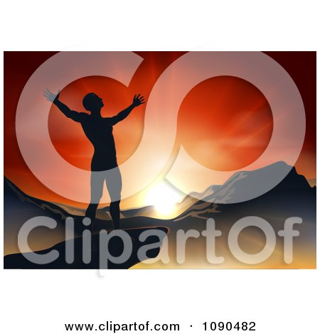 Clipart Silhouetted Christian Man Praising Under An Orange Sunset Over A Mountainous Landscape - Royalty Free Vector Illustration by AtStockIllustration