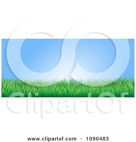Clipart Blue Sky And Green Grass Website Banner - Royalty Free Vector Illustration by AtStockIllustration