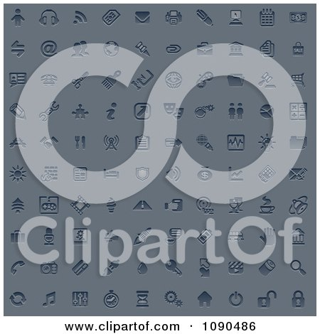 Clipart 100 Embossed Blue Internet Or Web Browser Icons - Royalty Free Vector Illustration by AtStockIllustration