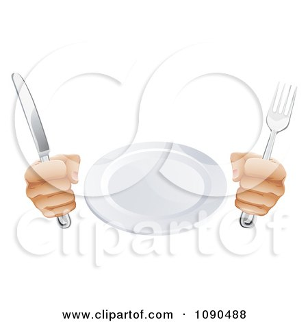 Clipart 3d Pair Of Hands Holding A Knife And Fork By A Plate - Royalty Free Vector Illustration by AtStockIllustration
