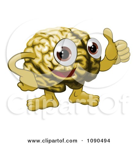 Clipart Brain Guy Holding A Thumb Up - Royalty Free Vector Illustration by AtStockIllustration