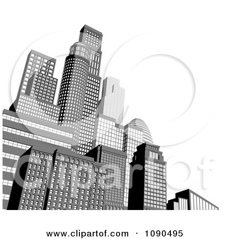 Clipart 3d Grayscale City Skyscrapers With White Copyspace - Royalty Free Vector Illustration by AtStockIllustration