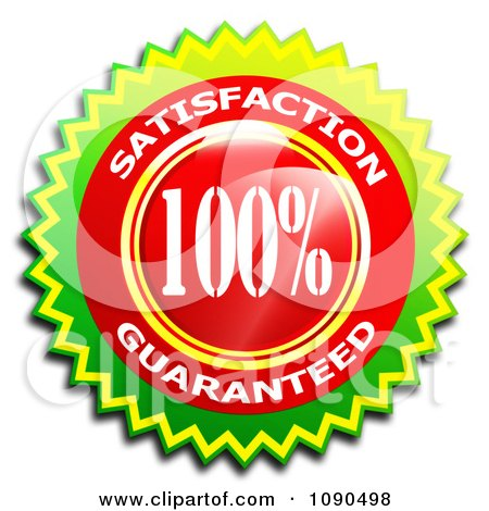 Clipart Shiny Red And Green 100 Percent Satisfaction Guaranteed Badge - Royalty Free CGI Illustration by MacX