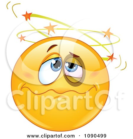 Clipart Knocked Out Emoticon Face Seeing Stars - Royalty Free Vector Illustration by yayayoyo