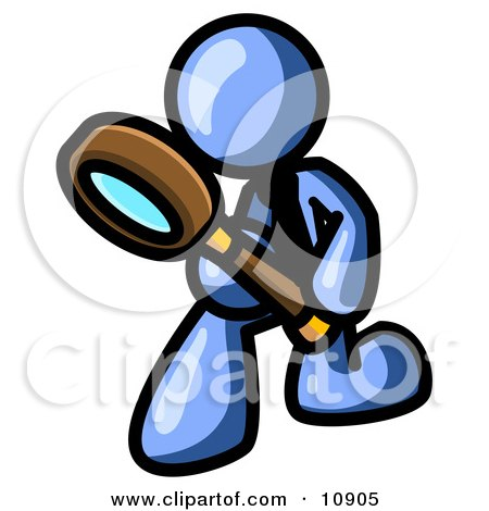 Blue Man Bending Over to Inspect Something Through a Magnifying Glass Clipart Illustration by Leo Blanchette