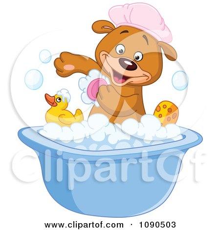 Clipart Cute Teddy Bear Scrubbing His Arm In A Bath Tub - Royalty Free Vector Illustration by yayayoyo