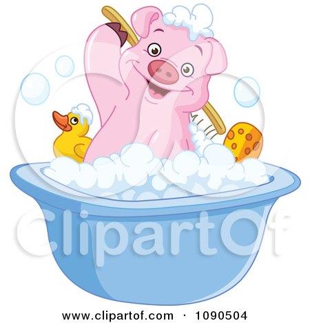 Clipart Cute Pig Scrubbing His Back In A Bath Tub - Royalty Free Vector Illustration by yayayoyo