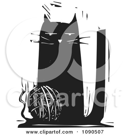 Clipart Cat Playing With A Ball Of String Black And White Woodcut - Royalty Free Vector Illustration by xunantunich