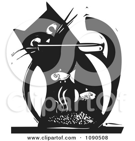 Clipart Cat Watching Fish In A Bowl Black And White Woodcut - Royalty Free Vector Illustration by xunantunich