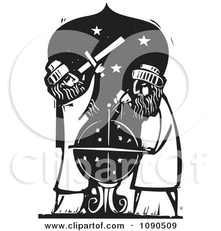 Clipart Male Astronomers Using A Telescope And Globe Black And White Woodcut - Royalty Free Vector Illustration by xunantunich