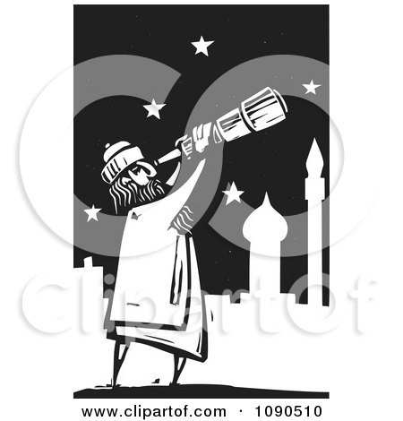 Clipart Arabian Man Using A Telescope To View The Stars Black And White Woodcut - Royalty Free Vector Illustration by xunantunich