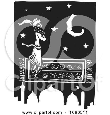 Clipart Arabian Man Flying On A Magic Carpet Over A Mosque Black And White Woodcut - Royalty Free Vector Illustration by xunantunich