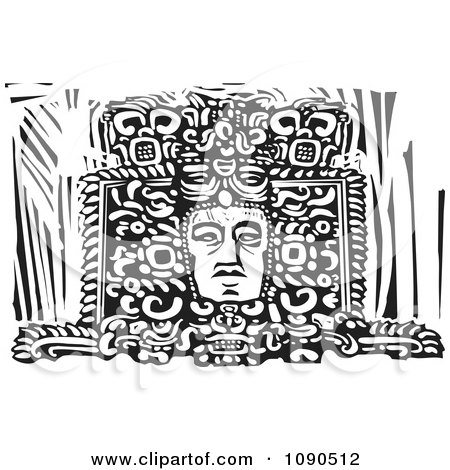 Clipart Mayan Face Carved In A Statue Black And White Woodcut - Royalty Free Vector Illustration by xunantunich