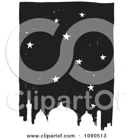 Starry Night Sky Over A Mosque Black And White Woodcut Posters, Art Prints