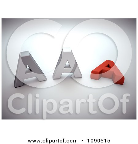 Clipart 3d Silver And Red AAA Notation - Royalty Free CGI Illustration by chrisroll
