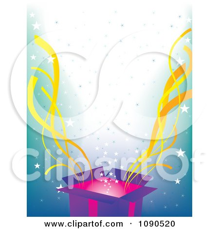 Clipart Surprise Open Gift Box With Yellow Streamers And Stars Over Blue - Royalty Free Vector Illustration by Maria Bell