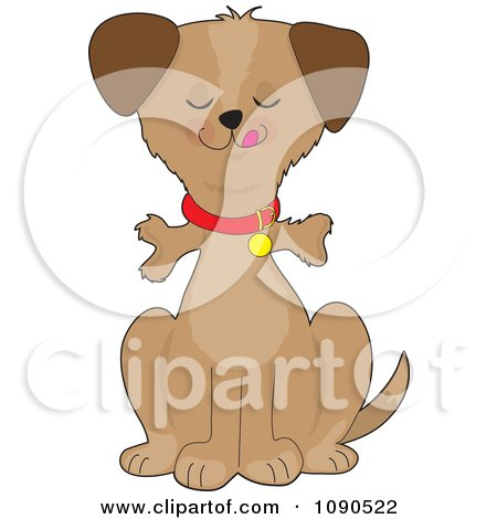 Clipart Pleased Dog Sitting With A Bone Sticking Out Through His Throat - Royalty Free Vector Illustration by Maria Bell