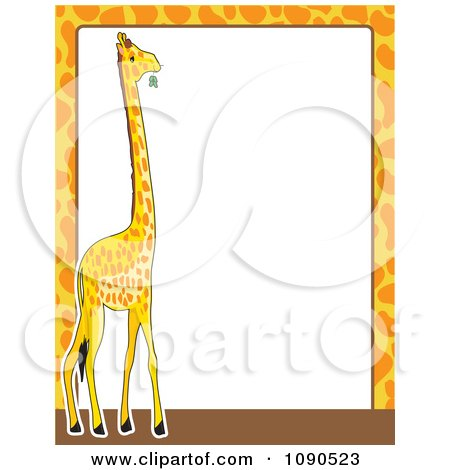 Clipart Giraffe Print And Animal Frame Border With White Copyspace - Royalty Free Vector Illustration by Maria Bell