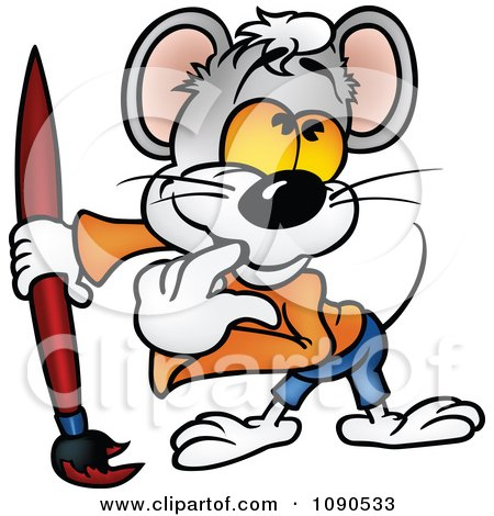Clipart Artist Mouse Holding A Paintbrush And Thinking - Royalty Free Vector Illustration by dero
