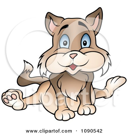 Clipart Sitting Brown Cat - Royalty Free Vector Illustration by dero