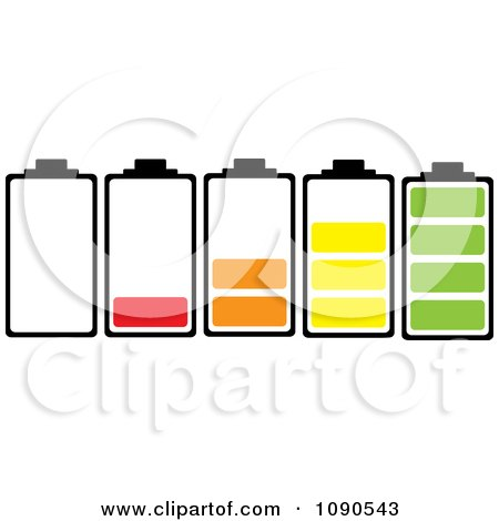 Clipart Bateries With Different Colorful Charge Levels - Royalty Free Vector Illustration by michaeltravers