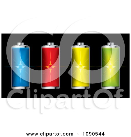 Clipart Colorful 3d Fully Charged Batteries With Flares - Royalty Free Vector Illustration by michaeltravers