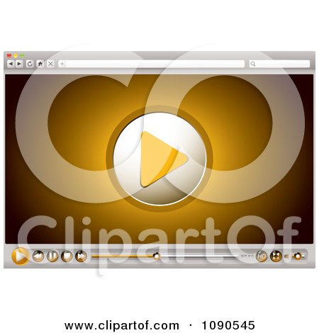 Clipart Orange Internet Video Play Icon And Control Buttons On A Browser - Royalty Free Vector Illustration by michaeltravers