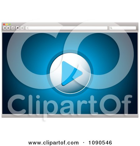 Clipart Blue Internet Video Play Icon On A Browser - Royalty Free Vector Illustration by michaeltravers