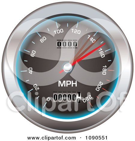 Clipart 3d Black Blue And Chrome Speedometer - Royalty Free Vector Illustration by michaeltravers