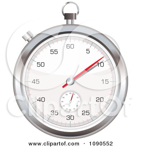 Clipart 3d Silver Stop Watch - Royalty Free Vector Illustration by michaeltravers