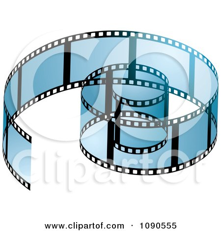 Clipart Transparent Blue Coiled Film Strip - Royalty Free Vector Illustration by michaeltravers