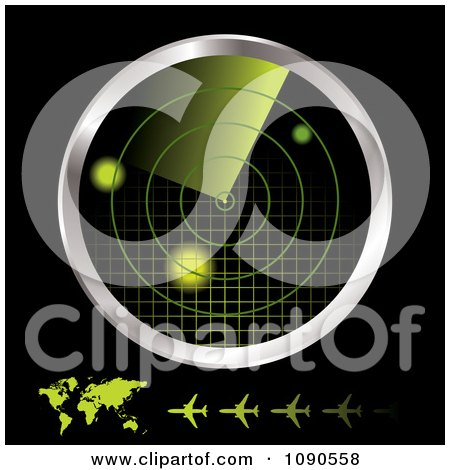 Clipart 3d Green And Chrome Airplane Radar Monitor With A Map And Planes On Black - Royalty Free Vector Illustration by michaeltravers