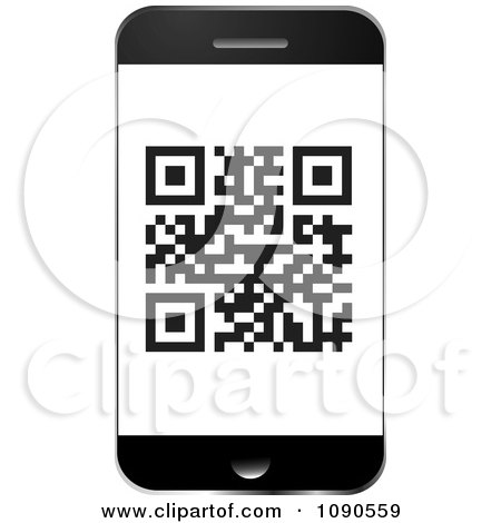 Clipart QR Code On A Smart Phone Screen - Royalty Free Vector Illustration by michaeltravers