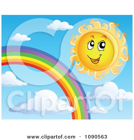 Clipart Happy Summer Sun By A Rainbow In The Sky - Royalty Free Vector Illustration by visekart