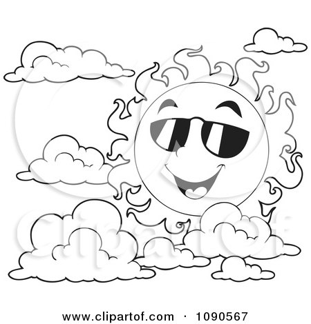 Clipart Coloring Page Outline Of A Happy Summer Sun With Shades And ...