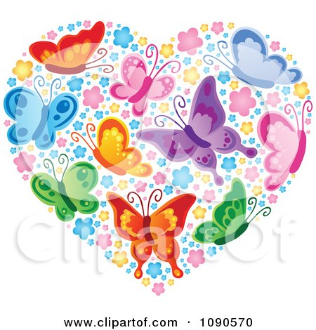 Clipart Heart Made Of Colorful Butterflies And Blossoms - Royalty Free Vector Illustration by visekart