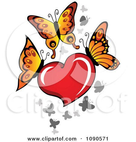 Clipart Red Heart With Butterflies - Royalty Free Vector Illustration by visekart