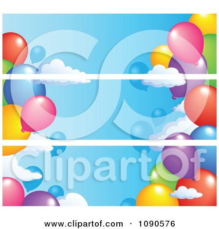 Clipart Three Party Balloon Banners That Seam Together - Royalty Free Vector Illustration by visekart