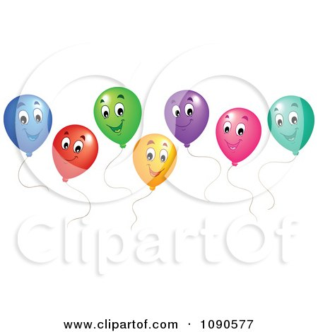 Clipart Colorful Floating Party Balloons Smiling - Royalty Free Vector Illustration by visekart