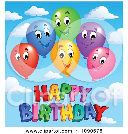 Clipart Colorful Floating Party Balloons Smiling Over Happy Birthday Against A Sky - Royalty Free Vector Illustration by visekart