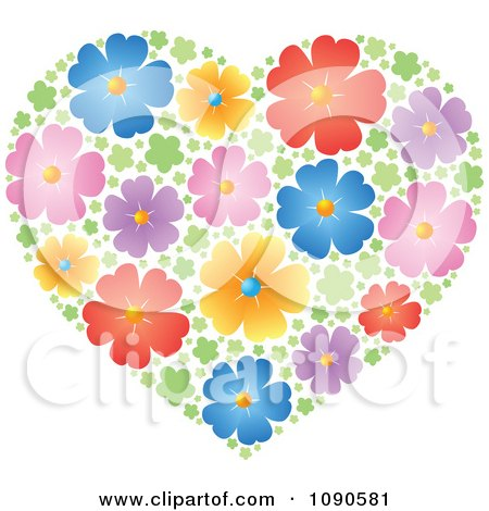 Clipart Heart Made Of Colorful Blossoms - Royalty Free Vector Illustration by visekart