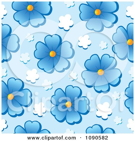 Clipart Seamless Blue Daisy Background - Royalty Free Vector Illustration by visekart