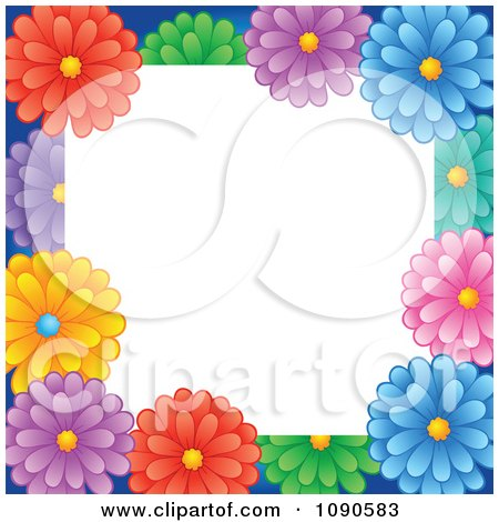 Picture Daisy Flower on Clipart Frame Of Colorful Daisy Flowers With White Copyspace   Royalty