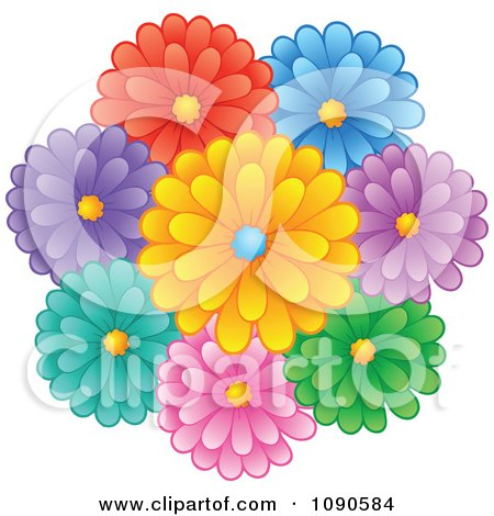 Clipart Bunch Of Colorful Daisy Flowers - Royalty Free Vector Illustration by visekart