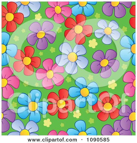 Clipart Seamless Colorful Daisy And Grass Background - Royalty Free Vector Illustration by visekart