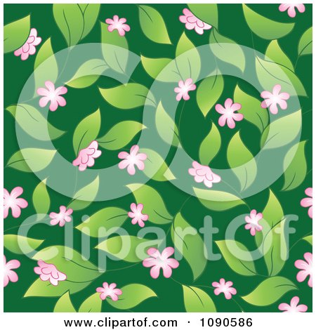 Clipart Seamless Pink Blossom Leaves And Green Background - Royalty Free Vector Illustration by visekart