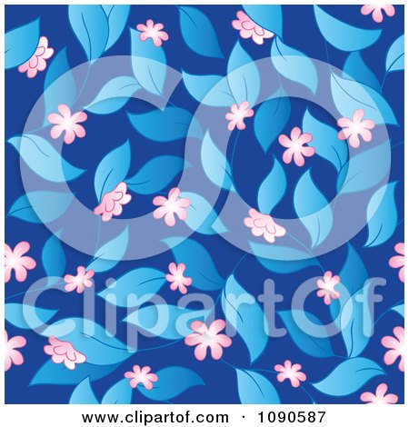 Clipart Seamless Pink Blossom Leaves And Blue Background - Royalty Free Vector Illustration by visekart