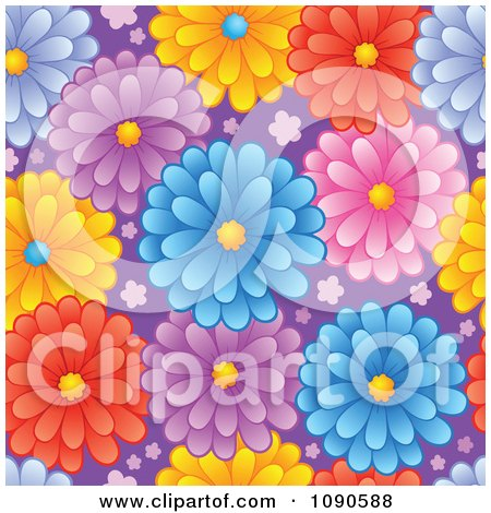 Clipart Seamless Colorful Daisy And Purple Background - Royalty Free Vector Illustration by visekart